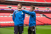 Elliot Frear and Darren Carter Forest Green Rovers Football Club Familiarisation visit to Wembley Stadium, London, England on 10 May 2016. Photo by Shane Healey.