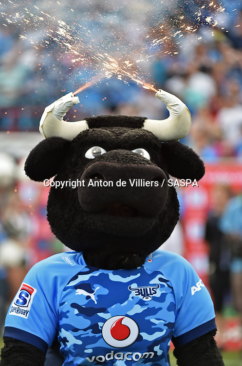 PRETORIA, South Africa, 29 MARCH 2014 : The Bulls mascot during the Vodacom Super Rugby match between the VODACOM BULLS and the CHIEFS at Loftus Versfeld in Pretoria, South Africa on 29 MARCH 2014. The game ended in a 34 all draw.<br /> <br /> &copy; Anton de Villiers / SASPA