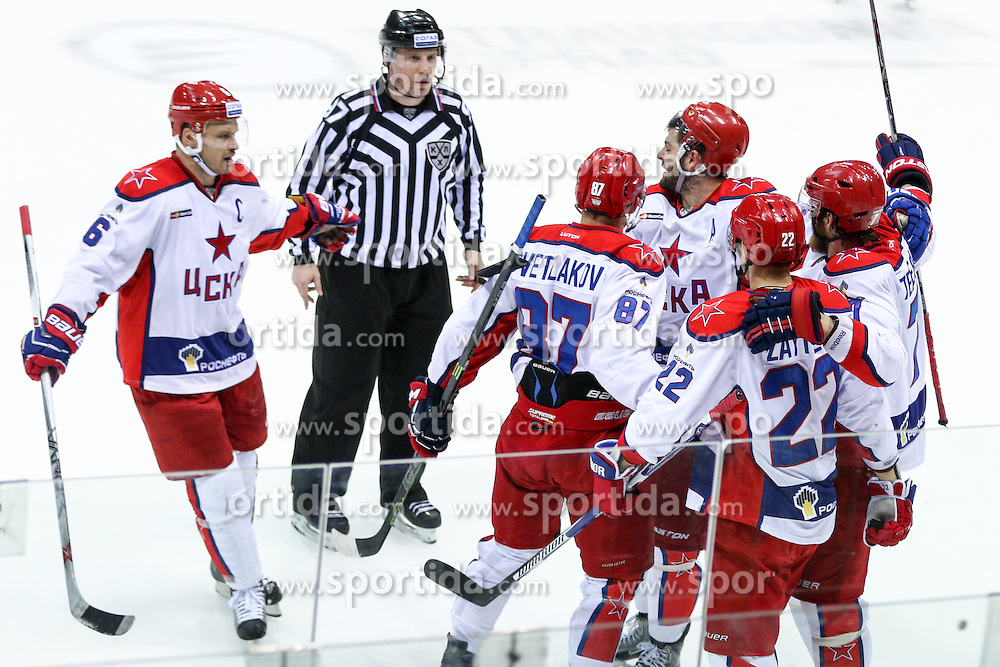 Players of CSKA Moscow celebrate during KHL League ice hockey match between HK Slovan Bratislava and CSKA Moscow, on February 27, 2015 in Ondrej Nepela Arena, Bratislava, Slovakia. Photo by Matic Klansek Velej / Sportida