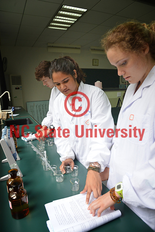 Study Abroad students works on the day's experiment in a Zhejiang University chemistry lab.