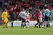 red card for Doncaster Rovers Midfielder Matty Blair (17) 2nd yellow offence during the EFL Sky Bet League 2 match between Doncaster Rovers and Blackpool at the Keepmoat Stadium, Doncaster, England on 17 April 2017. Photo by Craig Zadoroznyj.