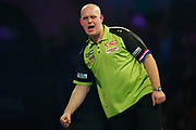 Michael van Gerwen celebrates hitting a double to win a leg during the World Darts Championships 2018 at Alexandra Palace, London, United Kingdom on 29 December 2018.