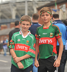 Cousins Eddie Bohan and James Gilvary who are grandsons of Joe Gilvary of Mayo's 1951 team on their way to the All Ireland Semi-final between Mayo and Dublin on sunday last.<br /> Pic Conor McKeown
