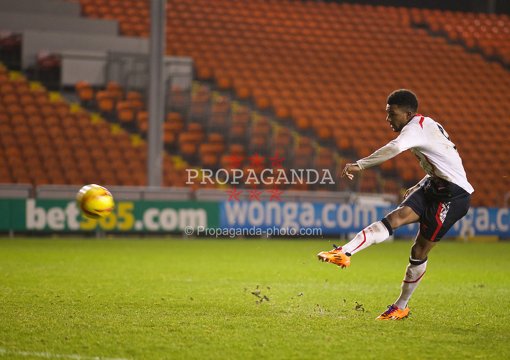 BLACKPOOL, ENGLAND - Wednesday, December 18, 2013: Liverpool's Jerome Sinclair blazes his shot over the bar and misses his side's second penalty in the shoot-out against Blackpool during the FA Youth Cup 3rd Round match at Bloomfield Road. (Pic by David Rawcliffe/Propaganda)
