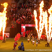 Canada and South Africa run out of the tunnel during the knockout stages of the Canada Sevens,  Round Six of the World Rugby HSBC Sevens Series in Vancouver, British Columbia, Sunday March 12, 2017. <br /> <br /> Jack Megaw.<br /> <br /> www.jackmegaw.com<br /> <br /> jack@jackmegaw.com<br /> @jackmegawphoto<br /> [US] +1 610.764.3094<br /> [UK] +44 07481 764811