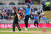 Wicket - Jofra Archer of Sussex celebrates taking the wicket of Steve Davies of Somerset during the Vitality T20 Finals Day semi final 2018 match between Sussex Sharks and Somerset County Cricket Club at Edgbaston, Birmingham, United Kingdom on 15 September 2018.