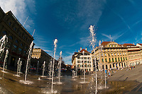 Water fountains in Bundesplatz (Confederation Plaza), Bern, Canton Bern, Switzerland
