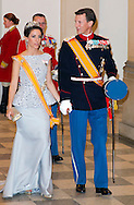 Copenhagen, 17-03-2015<br /> <br /> King Willem-Alexander and Queen Maxima of The Netherlands and Queen Margarethe and Prince Henrik of Denmark at the state banquet in Christiansborg Palace in Copenhagen, Denmark, 17 March 2015. The Dutch King and Queen are in Denmark for an two day state visit <br /> Photo: Bernard Ruebsamen/Royalportraits Europe