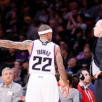 28 February 2014: Sacramento Kings point guard Isaiah Thomas (22) talks to Sacramento Kings head coach Michael Malone during the Los Angeles Lakers 126-122 victory over the Sacramento Kings at the Staples Center, Los Angeles, California, USA.