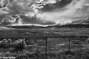 """Eastern Sierra Storm"" - A black and white photograph of a clearing storm over the Sierra Nevada Mountains near Bridgeport, California"