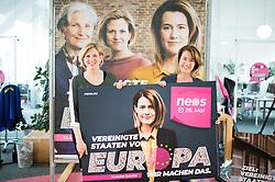 03.05.2019, Neosphäre, Wien, AUT, NEOS, Pressekonferenz mit der Präsentation der zweiten Plakatwelle anlässlich der EU-Wahl. im Bild NEOS-Klubobfrau Beate Meinl-Reisinger und EU-Spitzenkandidatin Claudia Gamon (NEOS) // Party whip of the Austrian Liberal Party NEOS Beate Meinl-Reisinger and Topcandidate for european elections Claudia Gamon during placard presentation of NEOS due to elections of the european parliament in Vienna, Austria on 2019/05/03. EXPA Pictures © 2019, PhotoCredit: EXPA/ Michael Gruber