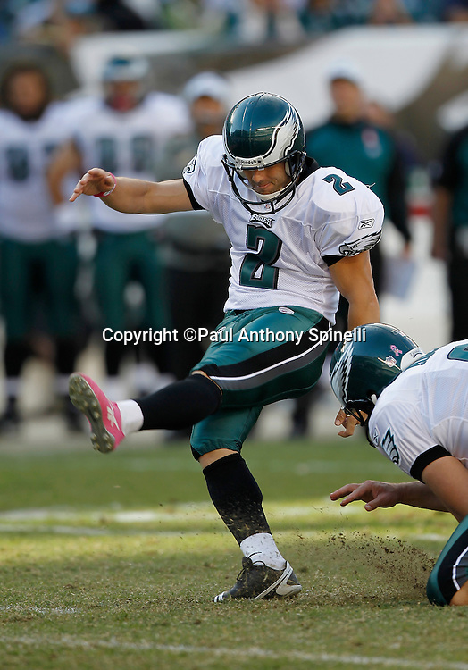 Philadelphia Eagles David Akers (2) misses a fourth quarter field goal attempt during the NFL week 6 football game against the Atlanta Falcons on Sunday, October 17, 2010 in Philadelphia, Pennsylvania. The Eagles won the game 31-17. (©Paul Anthony Spinelli)