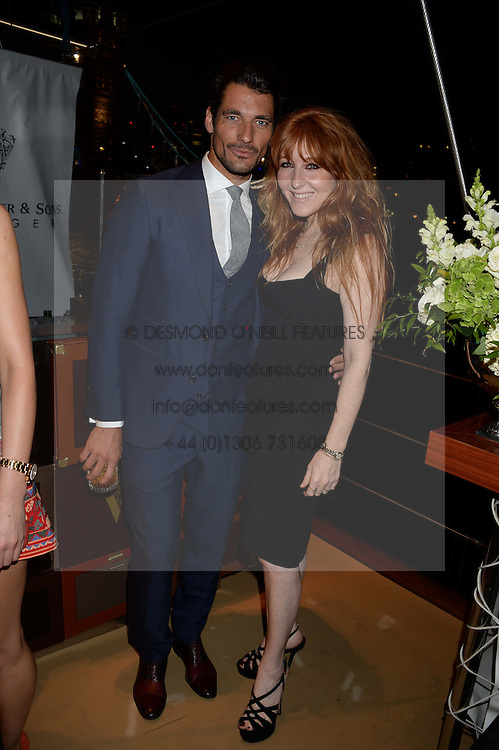 The Johnnie Walker Blue Label and David Gandy Drinks Reception aboard John Walker & Sons Voyager, St.Georges Stairs Tier, Butler's Wharf Pier, London, UK on 16th July 2013.<br /> Picture Shows:-David Gandy, Charlotte Tilbury