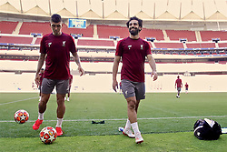 MADRID, SPAIN - Friday, May 31, 2019: Liverpool's Roberto Firmino (L) and Mohamed Salah during a training session ahead of the UEFA Champions League Final match between Tottenham Hotspur FC and Liverpool FC at the Estadio Metropolitano. (Pic by Handout/UEFA)