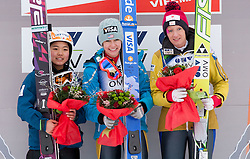 Second placed Sara Takanashi of Japan, winner Sarah Hendrickson of USA and third placed Daniela Iraschko of Austria at medal ceremony during Normal Hill Individual Competition at FIS World Cup Ski jumping Ladies Ljubno 2012, on February 11, 2012 in Ljubno ob Savinji, Slovenia. (Photo By Vid Ponikvar / Sportida.com)