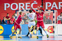 Austrian players during handball match between National teams of Belarus and Austria on Day 1 in Preliminary Round of Men's EHF EURO 2018, on January 12, 2018 in Arena Zatika, Porec, Croatia. Photo by Ziga Zupan / Sportida