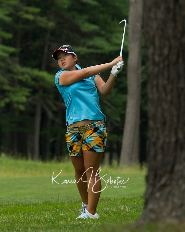 Christine Song drives a shot during Saturday's round of the Symetra LPGA Tour at Beaver Meadows Golf Course.  (Karen Bobotas/for the Concord Monitor)