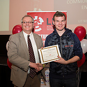 18.05.2016<br /> Limerick Institute of Technology (LIT) hosted a celebration of community and voluntary engagement in the LIT Millennium Theatre for the GO4IT & Give Graduation ceremony.<br /> <br /> Acting President LIT, Terry Toomey presented a Give certificate to Daniel Bury. Picture: Alan Place/Fusionshooters