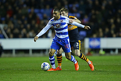 Lewis Grabban of Reading under pressure from Paul Dummett of Newcastle United - Mandatory by-line: Jason Brown/JMP - 07/03/2017 - FOOTBALL - Madejski Stadium - Reading, England - Reading v Newcastle United - Sky Bet Championship