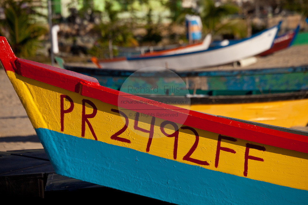 Colorful yolas on the beach at Aguadilla Puerto Rico