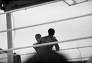 Ali vs Lewis Fight, Croke Park,Dublin..1972..19.07.1972..07.19.1972..19th July 1972..As part of his built up for a World Championship attempt against the current champion, 'Smokin' Joe Frazier,Muhammad Ali fought Al 'Blue' Lewis at Croke Park,Dublin,Ireland. Muhammad Ali won the fight with a TKO when the fight was stopped in the eleventh round...Both fighters prepare to trade blows.