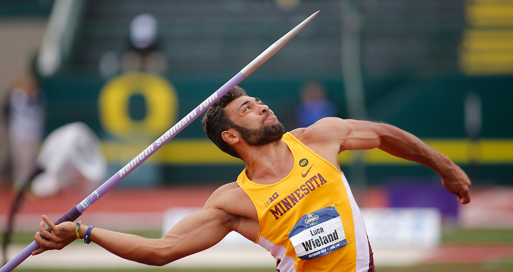 Minnesota's Luca Wieland competes in the javalin during the men's decathlon on the second day of the NCAA outdoors college track and field championships in Eugene, Ore., Thursday, June 8, 2017. (AP Photo/Timothy J. Gonzalez)
