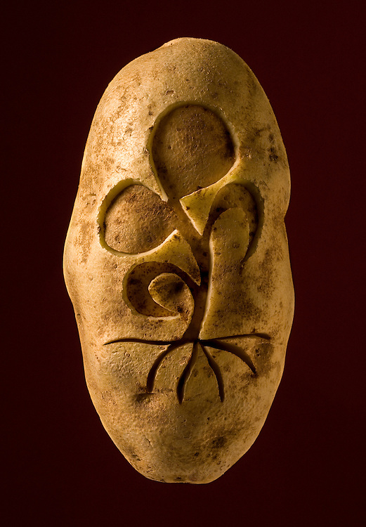 Homage to the Potato Series benifit piece for the Idaho Food Bank for donor thank you, carved potato with Food Bank Logo.
