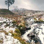 Rushing burn in winters thaw, Glen Falloch