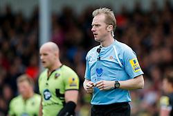 referee Wayne Barnes looks on - Photo mandatory by-line: Rogan Thomson/JMP - 07966 386802 - 11/04/2015 - SPORT - RUGBY UNION - Exeter, England - Sandy Park Stadium - Exeter Chiefs v Northampton Saints - Aviva Premiership.