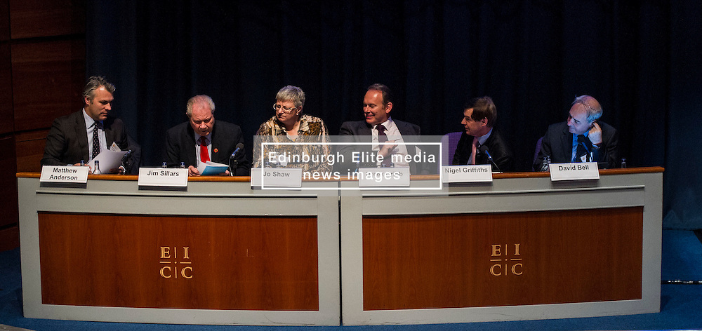 Pictured: <br /> <br /> The Institute and Faculty of Actuaries hosted a flagship European Union referendum debate for around 250 delegates in Edinburgh tonight. Speakers at the event were Matthew Anderson, member of the Advisory Board - Britain Stronger in Europe, Jim Sillars, former deputy leader of the SNP, Jo Shaw, Salvesen Chair of European Institutions, Nigel Griffiths, Labour Leave Scotland and former deputy leader of the House of Commons Nigel Griffiths and  David Bell, Professor of Economics, University of Stirling.<br /> Ger Harley | EEm 5 April 2016