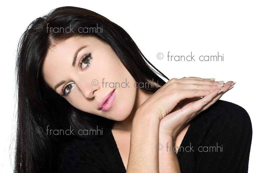 woman beautiful portrait on studio isolated white background pensive thinking