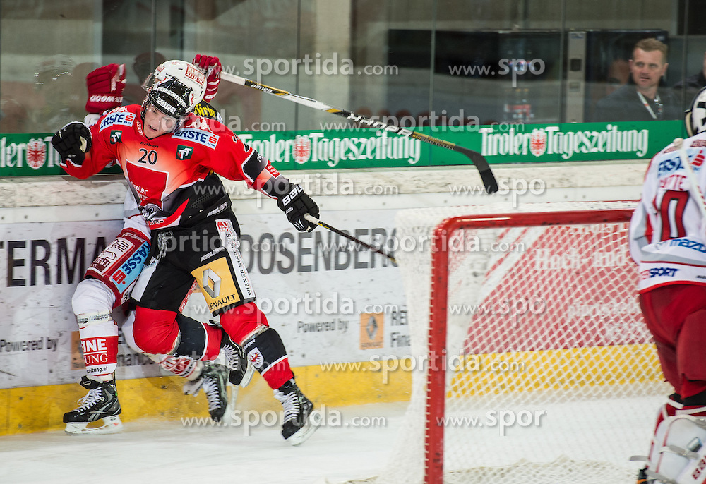 16.09.2012, Tiroler Wasserkraft Arena, Innsbruck, AUT, EBEL, HC TWK Innsbruck vs EC KAC, 04. Runde, im Bild Mike Bartlett, (HC TWK Innsbruck, # 20) und Patrick Harand, (EC KAC, #16) // during the Erste Bank Icehockey League 4th Round match between HC TWK Innsbruck and EC KAC at the Tiroler Wasserkraft Arena, Innsbruck, Austria on 2012/09/16. EXPA Pictures © 2012, PhotoCredit: EXPA/ Eric Fahrner