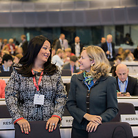 Brussels, Belgium - 25 September 2017 <br /> &quot;The Future of Finances&quot; conference.<br /> Lilyana Pavlova, Minister of Bulgaria's EU Council Presidency and Nadia Calvi&ntilde;o, Director General of DG Budget.<br /> Photo: European Commission / Ezequiel Scagnetti