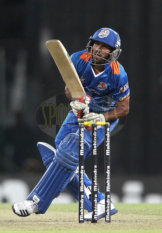 T M Sampath of Nagenahira Nagas guides a delivery towards the boundary during the Final Match of the Sri Lankan Premier League between Uva Next and Nagenahira Nagas held at the Premadasa Stadium in Colombo, Sri Lanka on the 31st August 2012. .Photo by Shaun Roy/SPORTZPICS/SLPL