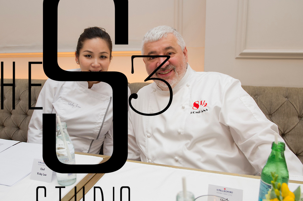 Chefs Vicky Lau (left) and Umberto Bombana (right) during San Pellegrino Young Chef Media Roundtable Event on 20 May 2016 in Tate Dining Room, Hong Kong, China. Photo by Lucas Schifres / studioEAST
