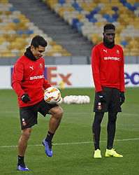 November 7, 2018 - Kiev, Ukraine - Rennes players Benjamin Andre (L) and Ismaila Sarr (R) take part in a training session at the Olympiyskiy Stadium in Kiev, Ukraine, 08 November 2018. Rennes will play against Dynamo Kyiv at the UEFA Europa League Group K second-leg football match at the Olympiyskiy Stadium in Kiev, on November 08. (Credit Image: © Str/NurPhoto via ZUMA Press)