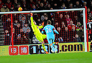 AFC Bournemouth goalkeeper Artur Boruc at full stretch to tip a West Ham shot over the bar during the Barclays Premier League match between Bournemouth and West Ham United at the Goldsands Stadium, Bournemouth, England on 12 January 2016. Photo by Graham Hunt.
