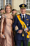 Religious wedding of Grand Duke Guillaume and Princess Stephanie at the Cathedral Notre-Dame in Luxembourg <br /> <br /> On the photo:  Prince Filip en Princes Mathilde
