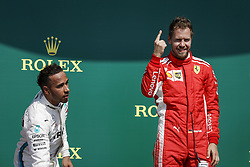 July 8, 2018 - Silverstone, Great Britain - Motorsports: FIA Formula One World Championship 2018, Grand Prix of Great Britain, .#44 Lewis Hamilton (GBR, Mercedes AMG Petronas Motorsport), #5 Sebastian Vettel (GER, Scuderia Ferrari) (Credit Image: © Hoch Zwei via ZUMA Wire)