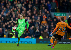 LIVERPOOL, ENGLAND - Saturday, January 28, 2017: Liverpool's goalkeeper Loris Karius in action against Wolverhampton Wanderers during the FA Cup 4th Round match at Anfield. (Pic by David Rawcliffe/Propaganda)
