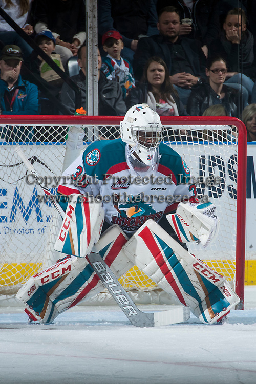 KELOWNA, CANADA - MARCH 31: Michael Herringer #30 of the Kelowna Rockets defends the net against the Kamloops Blazers on March 31, 2017 at Prospera Place in Kelowna, British Columbia, Canada.  (Photo by Marissa Baecker/Shoot the Breeze)  *** Local Caption ***