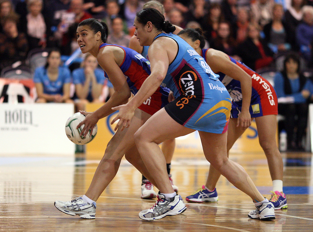 Mystics Grace Rasmussen, left, gets the ball ahead of Southern Steel's Sheryl Scanlan in the ANZ Championship netball match, Edgar Centre, Dunedin, New Zealand, Sunday, May 13, 2012. Credit:SNPA / Dianne Manson
