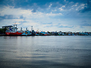 13 MAY 2015 - MAHACHAI, SAMUT SAKHON, THAILAND: Fishing boats in the port of Mahachai, Samut Sakhon province. Mahachai is one of Thailand's most important fishing ports.   PHOTO BY JACK KURTZ