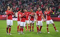 Fussball  1. Bundesliga  Saison 2016/2017  8. Spieltag  FC Bayern Muenchen - Borussia Moenchengladbach        22.10.2016 Schlussjubel FC Bayern Muenchen;  Mats Hummels, Arturo Vidal, Javi Martinez und Thomas Mueller (v.li.)