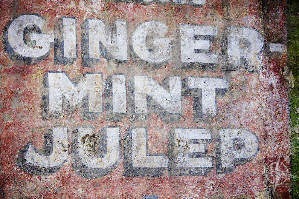 Aged Gingermint Julep sign in New Orleans, Louisiana.