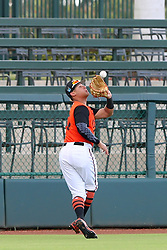 July 17, 2018 - Sarasota, FL, U.S. - Sarasota, FL - JUL 17: 2018 Orioles draft pick Trey Truitt (10) of Dothan, AL makes a catch and then throws the ball back into the infield during the Gulf Coast League (GCL) game between the GCL Twins and the GCL Orioles on July 17, 2018, at Ed Smith Stadium in Sarasota, FL. (Photo by Cliff Welch/Icon Sportswire) (Credit Image: © Cliff Welch/Icon SMI via ZUMA Press)