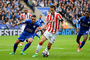 Leicester City defender Danny Simpson (17) battles with Stoke City midfielder Ramadan (32) during the Premier League match between Leicester City and Stoke City at the King Power Stadium, Leicester, England on 1 April 2017. Photo by Jon Hobley.