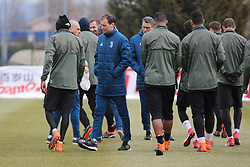 March 6, 2018 - Vinovo, Piedmont, Italy - Massimiliano Allegri (center), head coach of Juventus FC, during the training on the eve of the second leg of the Round 16 of the UEFA Champions League 2017/18 between Juventus FC and Tottenham Hotspur FC at Juventus Training Center on 06 March, 2018 in Vinovo (Turin), Italy. (Credit Image: © Massimiliano Ferraro/NurPhoto via ZUMA Press)