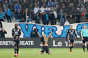 Memphis Depay of Olympique Lyonnais celebrates scoring during the French Championship Ligue 1 football match between Olympique de Marseille and Olympique Lyonnais on march 18, 2018 at Orange Velodrome stadium in Marseille, France - Photo Philippe Laurenson / ProSportsImages / DPPI