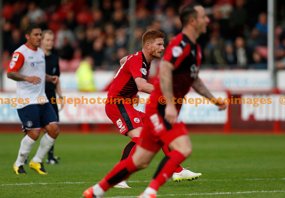 Crawley&rsquo;s Matt Harrold scores during the Sky Bet League 2 match between Crawley Town and Luton Town at the Checkatrade.com Stadium in Crawley. October 17, 2015.<br /> James Boardman / Telephoto Images<br /> +44 7967 642437